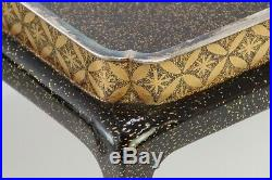 Antique Japanese Lacquer Gold Makie Sake Cup Stand Pair Meiji Period