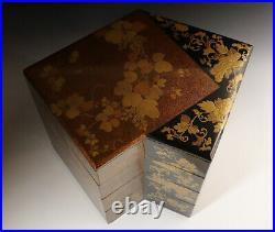 Antique Japanese Lacquer Maki-e Jubako Stacking Boxes Rare Shape Meiji Period