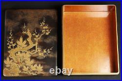 Antique Japanese Lacquer Maki-e Letter and Inkstone Box Set Meiji Period
