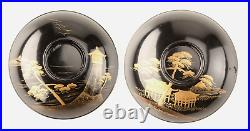 Antique Japanese Lacquer Makie Bowl Set of 10 Meiji Period