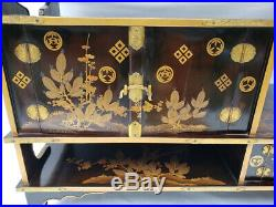 Antique Japanese Lacquer Makie Cabinet Meiji Period