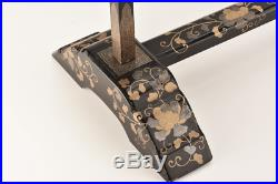 Antique Japanese Lacquer Makie Kimono Clothes Rack Hanger Meiji Period