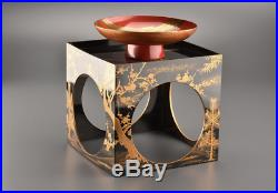 Antique Japanese Lacquer Makie Sake Cup & Stand Meiji Period