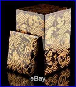 Antique Japanese Lacquer Makie Stacking Boxes Jubako Meiji Period