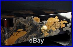 Antique Japanese Lacquer Makie Stationery Box Meiji Period