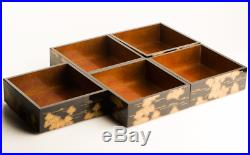 Antique Japanese Lacquer Pine Tree Makie Stacking Boxes Jubako Meiji Period