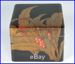 Antique Japanese Lacquer Rhodea Maki-e Box Meiji Period