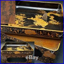 Antique Japanese Lacquer Shishi Lion Foo Dog Makie Tray with Base Meiji Period