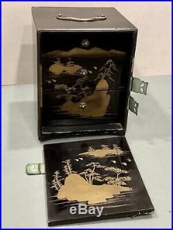 Antique Japanese Lacquer Table Cabinet Meiji Period Three Drawers Birds Flowers