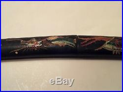 Antique Japanese Lacquer Tanto Dagger Knife with Handpainted Dragon Meiji Period