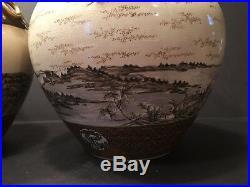 Antique Japanese Large Pair Satsuma Vases, Meiji period. Signed