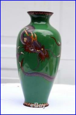 Antique Japanese MEIJI PERIOD CLOISONNE Enamel Dragon Vase