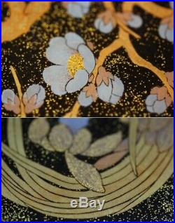 Antique Japanese Makie Box Flowers Meiji Period Rare Japan With Tray