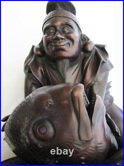 Antique Japanese Meiji Period 1800s-1900s Man & Big Koi Fish Bronze Figurine