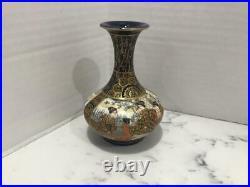 Antique Japanese Meiji Period (1868-1912) Satsuma Kinkozan Vase, Cobalt, Gold