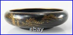 Antique Japanese Meiji Period Black and Gold Gilt Satsuma Landscape Bowl