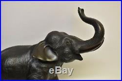 Antique Japanese Meiji Period Bronze Elephant Okimono Sculpture Marked
