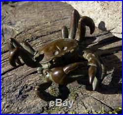 Antique Japanese Meiji Period Bronze Realistically Modelled Crab Okimono Signed