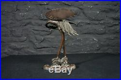 Antique Japanese Meiji Period Bronze Statue of a Crane & Turtle Signed to Base