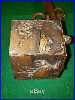 Antique Japanese Meiji Period Bronze Yatate Calligraphy Brush Holder & Inkwell