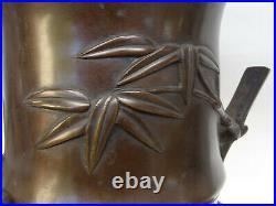 Antique Japanese Meiji Period Cast Bronze Bamboo Vase Okimono