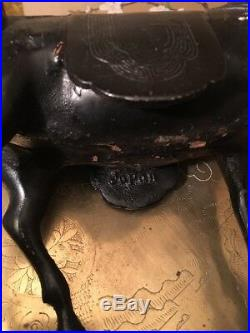Antique Japanese Meiji Period Cast Iron Guan Gong Warrior Riding A Horse