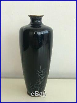 Antique Japanese Meiji Period Cloisonne Enameled Birds Vase Black 18,5 cm. RARE