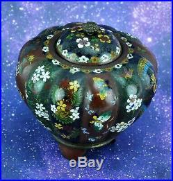 Antique Japanese Meiji Period Cloisonne Footed Jar with Lid 4 ¼ (BI#MK/200227)