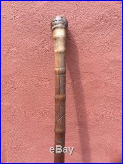 Antique Japanese Meiji Period Hand Carved Bamboo Walking Cane Stick C. 19th Cent