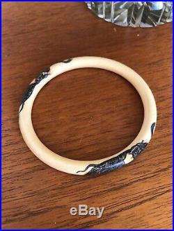 Antique Japanese Meiji Period Hand Etched Bangle Bracelet Old