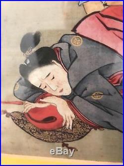 Antique Japanese Meiji Period Hand Painted On Silk Shunga Erotic Rape Subject