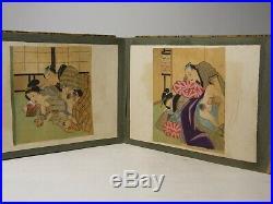 Antique Japanese Meiji Period Hand Painted Shunga Erotic Album 24 Pages