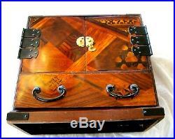 Antique Japanese Meiji Period Hardwood Inlaid Marquetry Kodansu Cabinet Chest