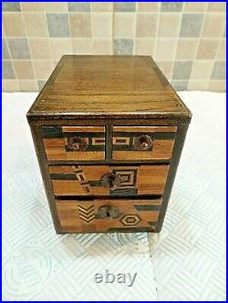Antique Japanese Meiji Period Inlaid Miniature Chest Of Drawers Signed By Artist