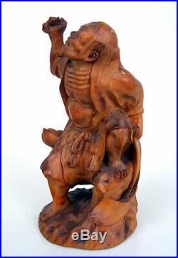Antique Japanese Meiji Period KOGETSU Carved Boxwood Okimono of Gama Sennin