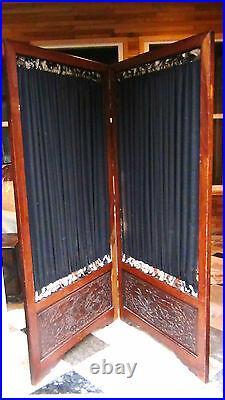 Antique Japanese Meiji Period Obi Kake Kimono Stand Screen Panel With Curtains