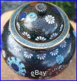 Antique Japanese Meiji Period Pair of Cloisonne Lidded Jars