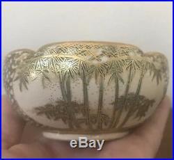 Antique Japanese Meiji Period Satsuma Scalloped Rim Signed Porcelain Bowl 4