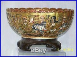 Antique Japanese Meiji Period Satsuma Scalloped Rim Signed Porcelain Bowl withBox