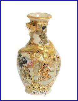 Antique Japanese Meiji Period Satsuma Vase Miniature with Rakan & Dragon c1900