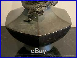 Antique Japanese Meiji Period Signed Bronze Full Dragon Vase