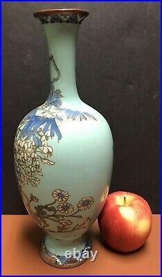 Antique Japanese Meiji Period Tiffany Blue Cloisonne 12 Vase