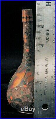 Antique Japanese Meiji Period Totai Shippo Cloisonne On Ceramic Bird Flower Vase