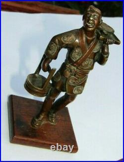 Antique Japanese Meiji period Bronze Copper Statue Man sell food Figurine