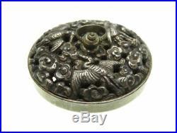 Antique Japanese Meiji period Silver Crane Netsuke Japan inro ojime vintage Rare