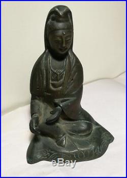 Antique Japanese Meiji period bronze Guanyin Buddha statue H16cm