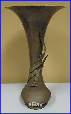 Antique Japanese Meiji period bronze floral vase signed Art Nouveau period