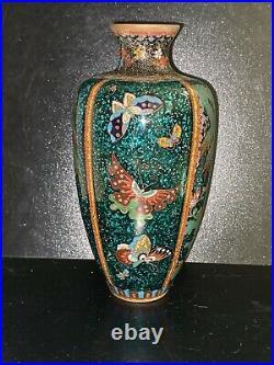 Antique Japanese Meiji period vase enamel cloisonné gold-foil butterfies 7 Tall