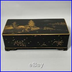 Antique Japanese Metal Black Gilt Box Signed Komai Otojiro Late Meiji Period