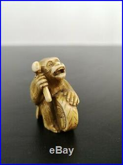 Antique Japanese Miniature Netsuke Monkey Carving Edo / Meiji Period Signed
